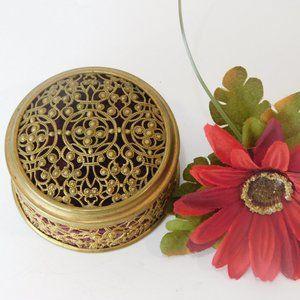 Vintage Filigree Brass Box with Lid Velvet Lining